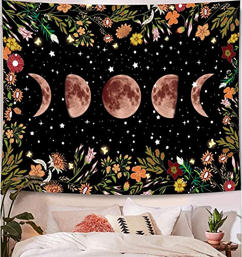 ORANDESIGNE Tapestry Wall Hanging Moonlit Phases Tapestry for Room Tapestry Flower Hippie Mandala Bohemian Black Wall Canvas Decor