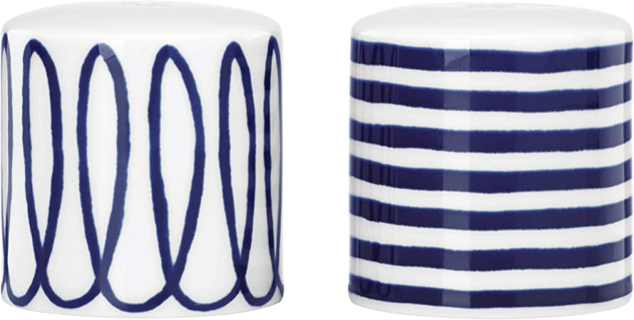 Amazon Com Kate Spade Charlotte Street Salt And Pepper Shakers 0 3 Lb Blue Kitchen Dining