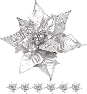 RED DECO 6pcs Artificial Christmas Poinsettias Flowers for Decoration, Glitter Flower Christmas Tree Ornaments Wedding Holiday Wreath Garland Decor with Clip(Silver)