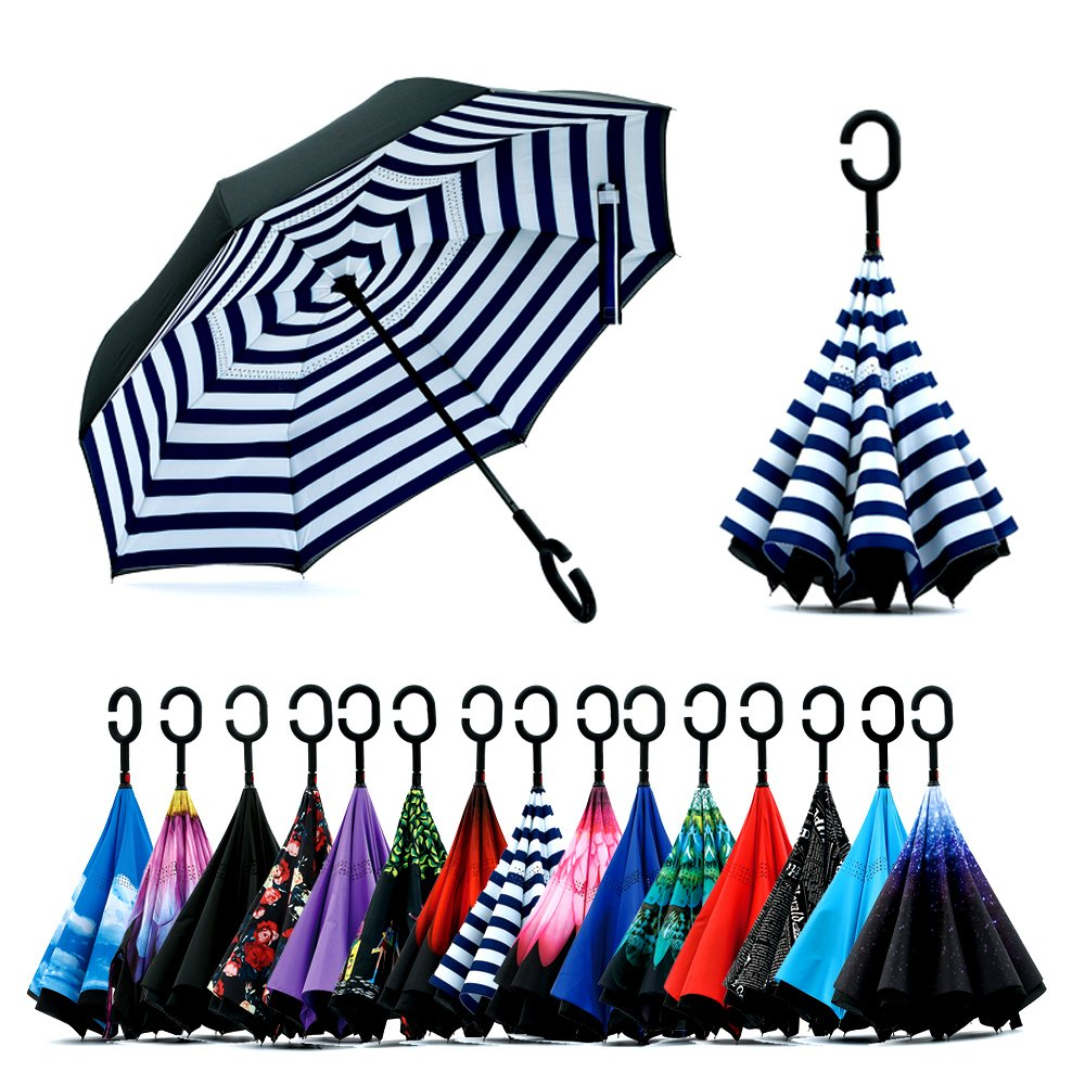 Double Layer Inverted Umbrella with C-Shaped Handle, Anti-UV Waterproof Windproof Straight Umbrella for Car Rain Outdoor Use (Blue Peony Flowers) Spar.saa