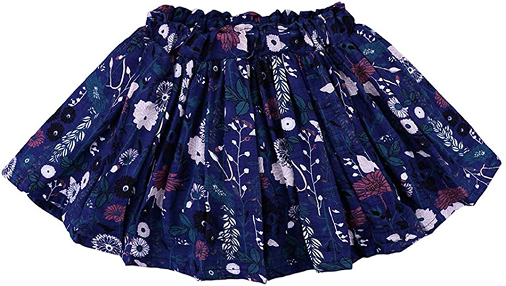 LOOLY Baby Girls Floral Print Pleated Skater Mini Skirt
