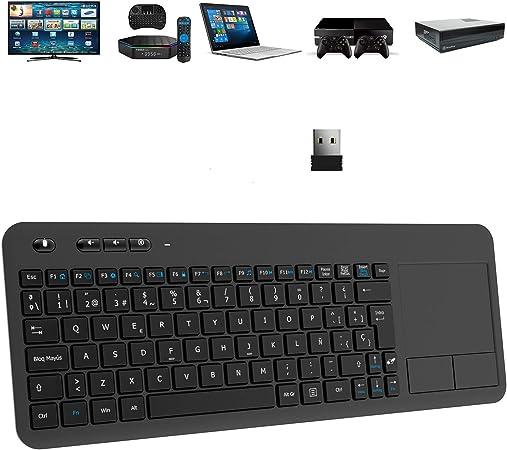 TedGem Teclado Inalámbrico USB, 2,4GHz Teclados Inalambricos para Smart TV Teclados Inalambricos Ordenador Teclado Touchpad con Receptor Nano USB para ...