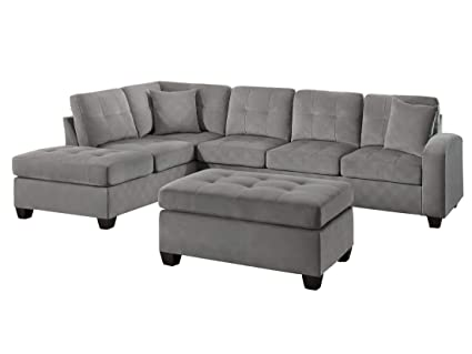 Pleasing Amazon Com Elburn 3Pc Reversible Chaise Sectional Ottoman Onthecornerstone Fun Painted Chair Ideas Images Onthecornerstoneorg