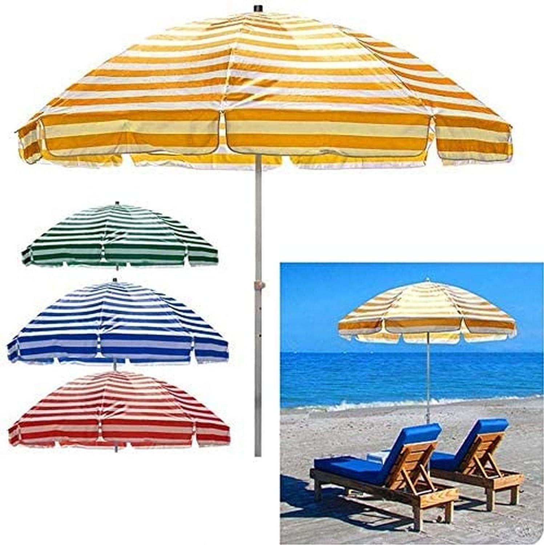 ZEH Sombrilla de Playa 220cm / 250cm jardín al Aire Libre Parasol, Parasol Protección, Bolsa de Transporte, Ronda de protección Solar Paraguas for balcón y Piscina/Camping, Azul/Verde/Rojo/amarill