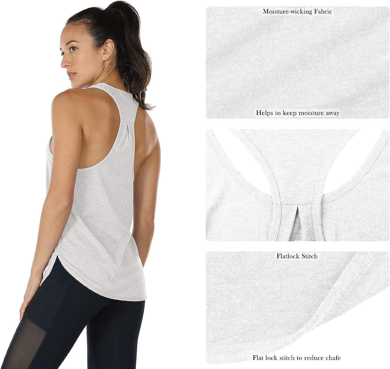 icyzone Camiseta sin Mangas de Fitness para Mujer Chaleco Deportivo Pack de 2