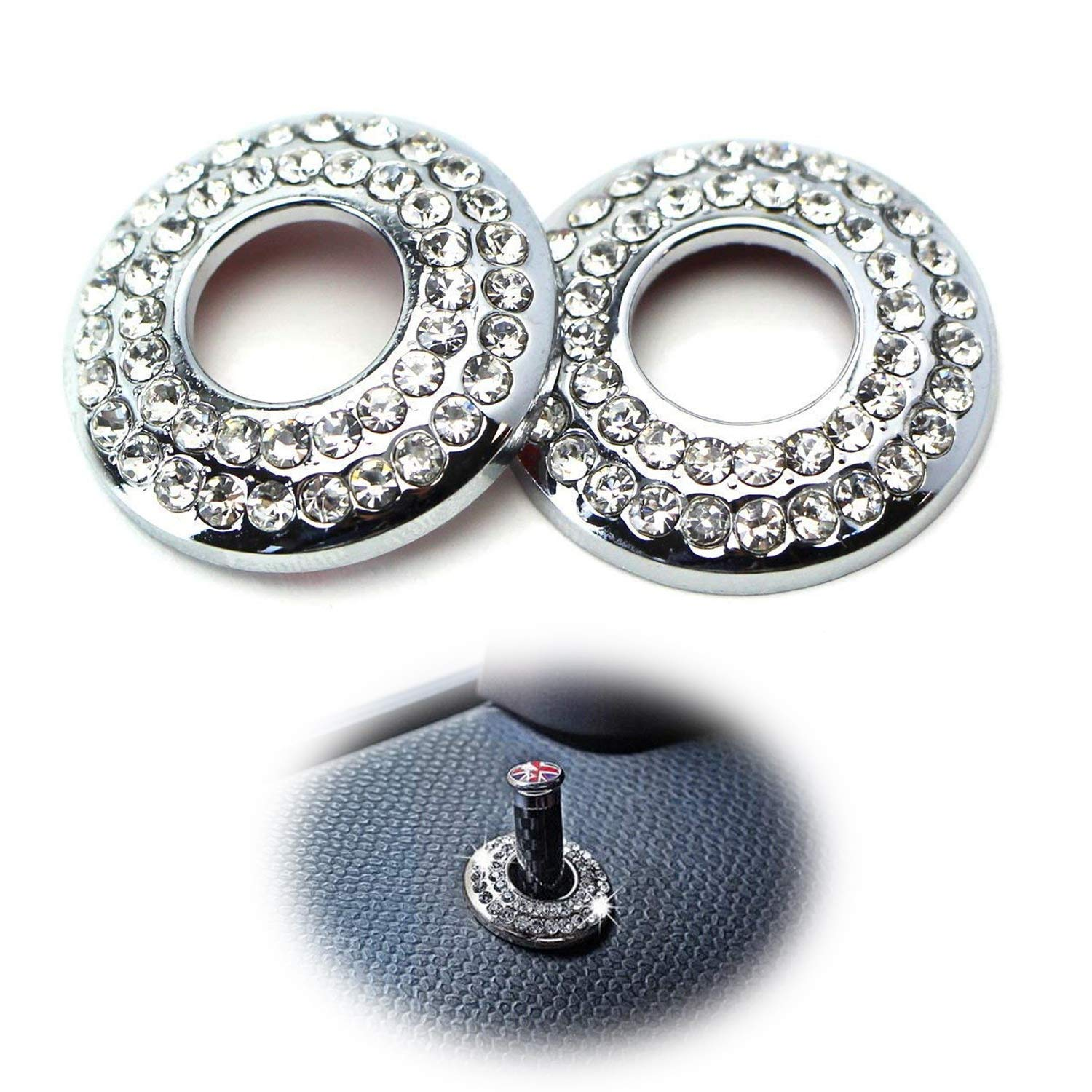 iJDMTOY (2) Bling Crystal Decor Alloy Door Lock Knob Ring Covers For MINI Cooper R55 R56 R57 R58 R59 R60, etc iJDMTOY Auto Accessories Rhinestone door ring lock pin covers