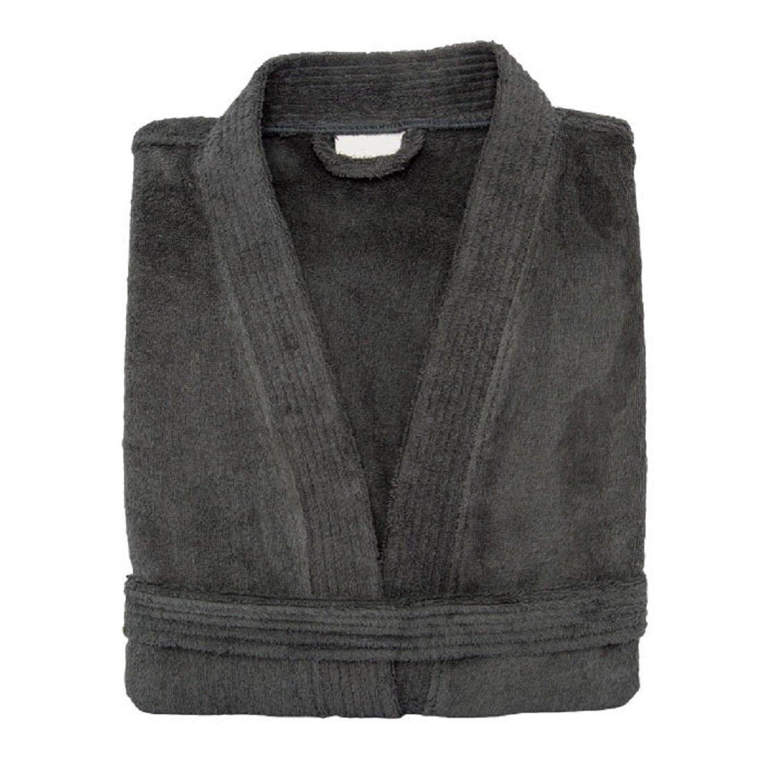 Terry Cloth Bathrobe%100 Cotton Men's Women's Charcoal Robe