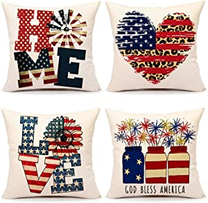 4th of July Decorations Pillow Covers 18x18 Set of 4 Independence Day Memorial Patriotic Stars and Stripes Farmhouse Decor Holiday Throw Cushion Case for Home Couch(God Bless America)