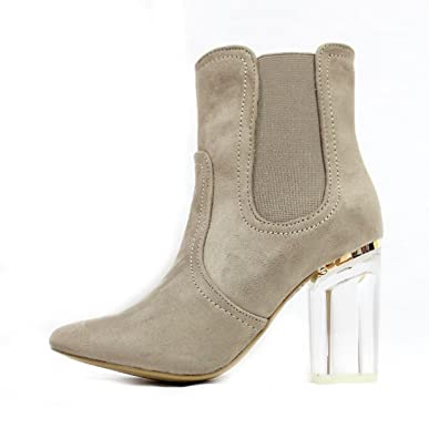 40b2e6f69a2 Clear Perspex Lucite Heel Ankle Women s Dress Boot Bootie (6