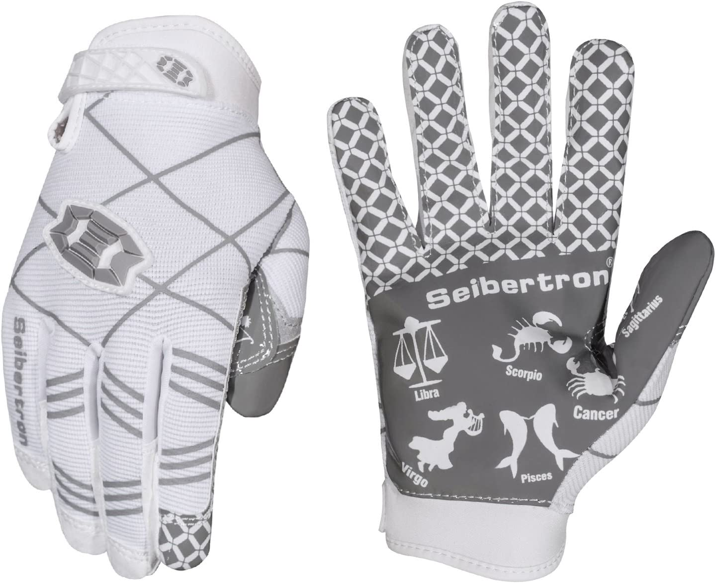 PAIR Youth M Battle Sports Ultra-Stick Football Receivers Gloves White//White