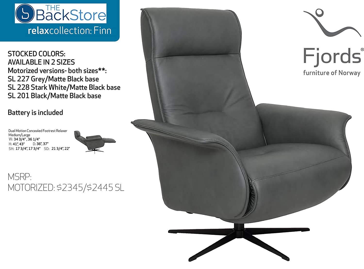 Amazon.com: Fjords Finn - Sillón reclinable con reposapiés ...
