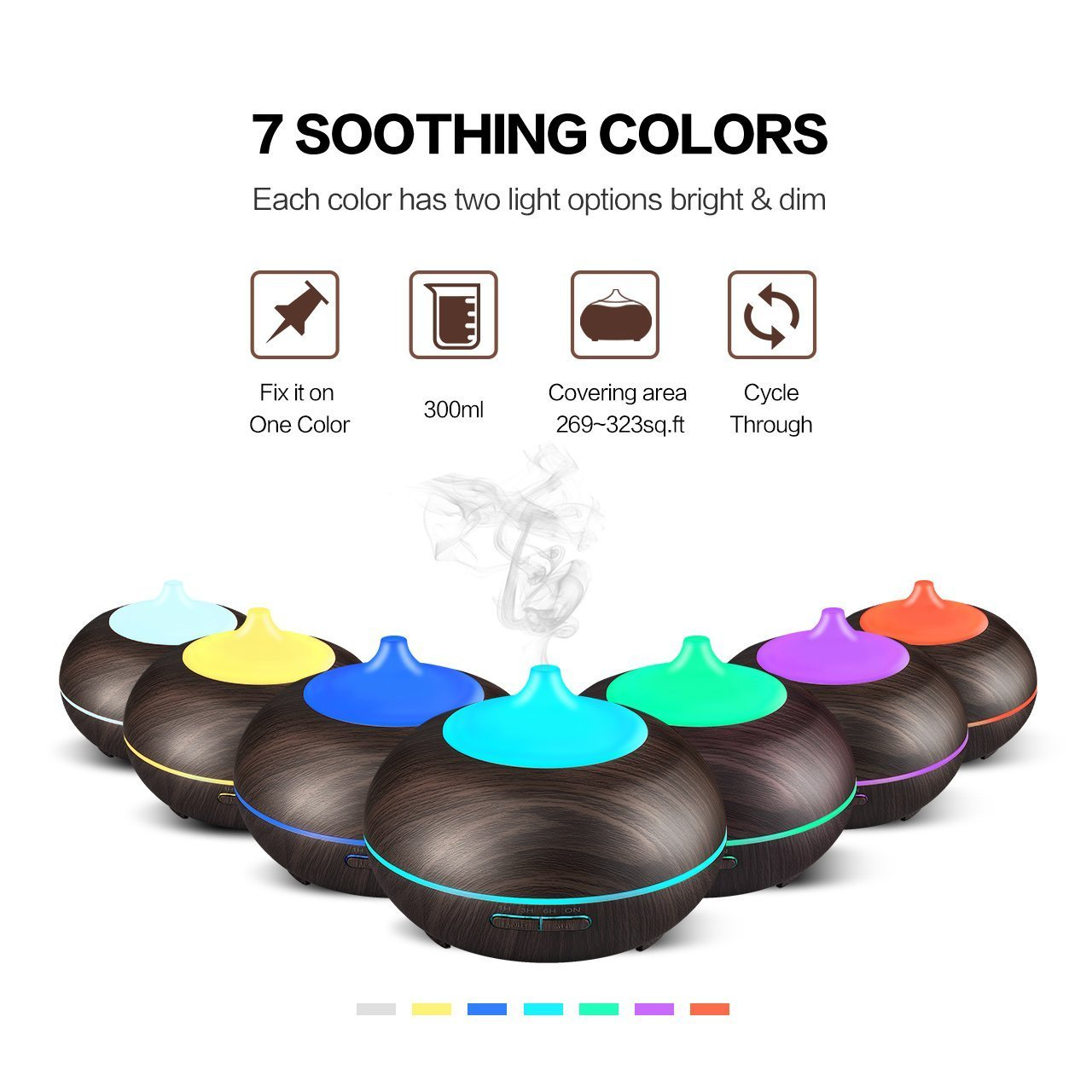 Essential Oil Diffuser, ALIKE 300ml Cool Mist Ultrasonic Aroma Diffuser, Cool Air Diffuser Wood Grain Humidifier with Waterless Automatically Shut-Off for Office Home Yoga Spa-Black