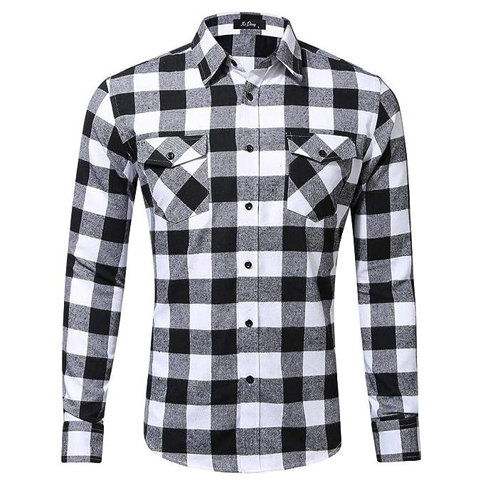 43e2e3786 QUICKLYLY Camisa Cuadros Hombre Manga Larga Franela/Leñador/Capucha Camisas  Vestir Fiesta Slim Fit Cuello Mao,Camisa Manga Larga Casual Moda Doble ...