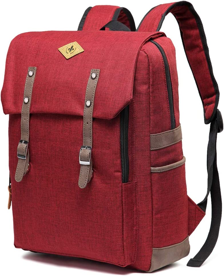 WOMACO Vintage Travel Laptop Backpack Daypack Water-Repellent Comeputer Bag for Women & Men - Fits 15.6 Inch Laptop (Red)