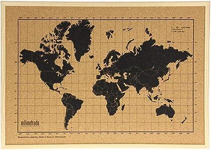 Mapa mundi de corcho pared marco madera natural - Mapa del mundo para marcar viajes - Tablero de corcho - Regalos originales para viajeros - Diseñado y fabricado en España por Milimetrado: