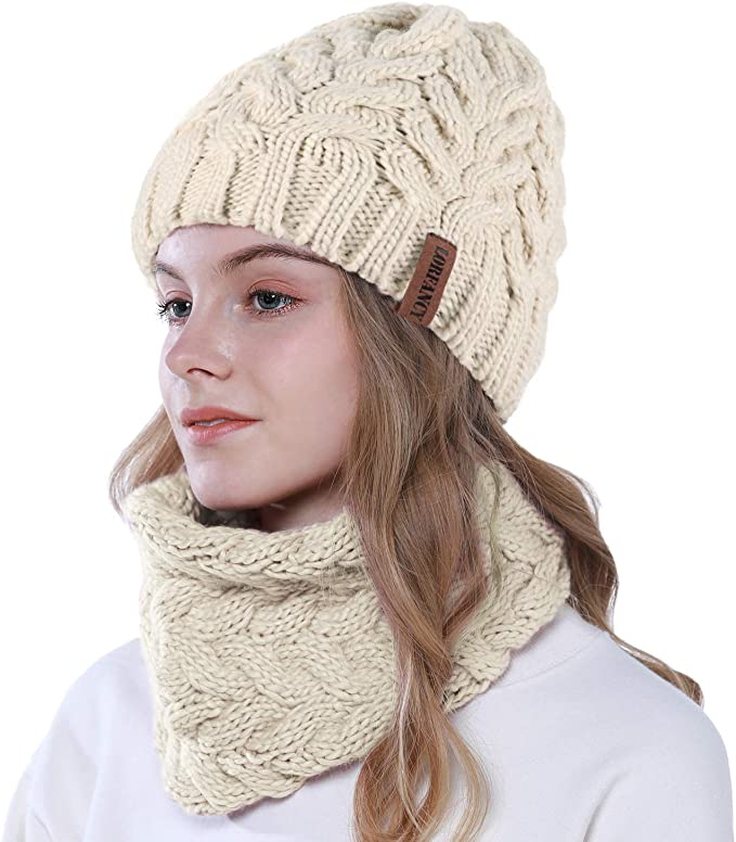 Damen Mädchen Mütze+Schal Set Wintermütze Bommelmütze Strickmütze Grobstrick