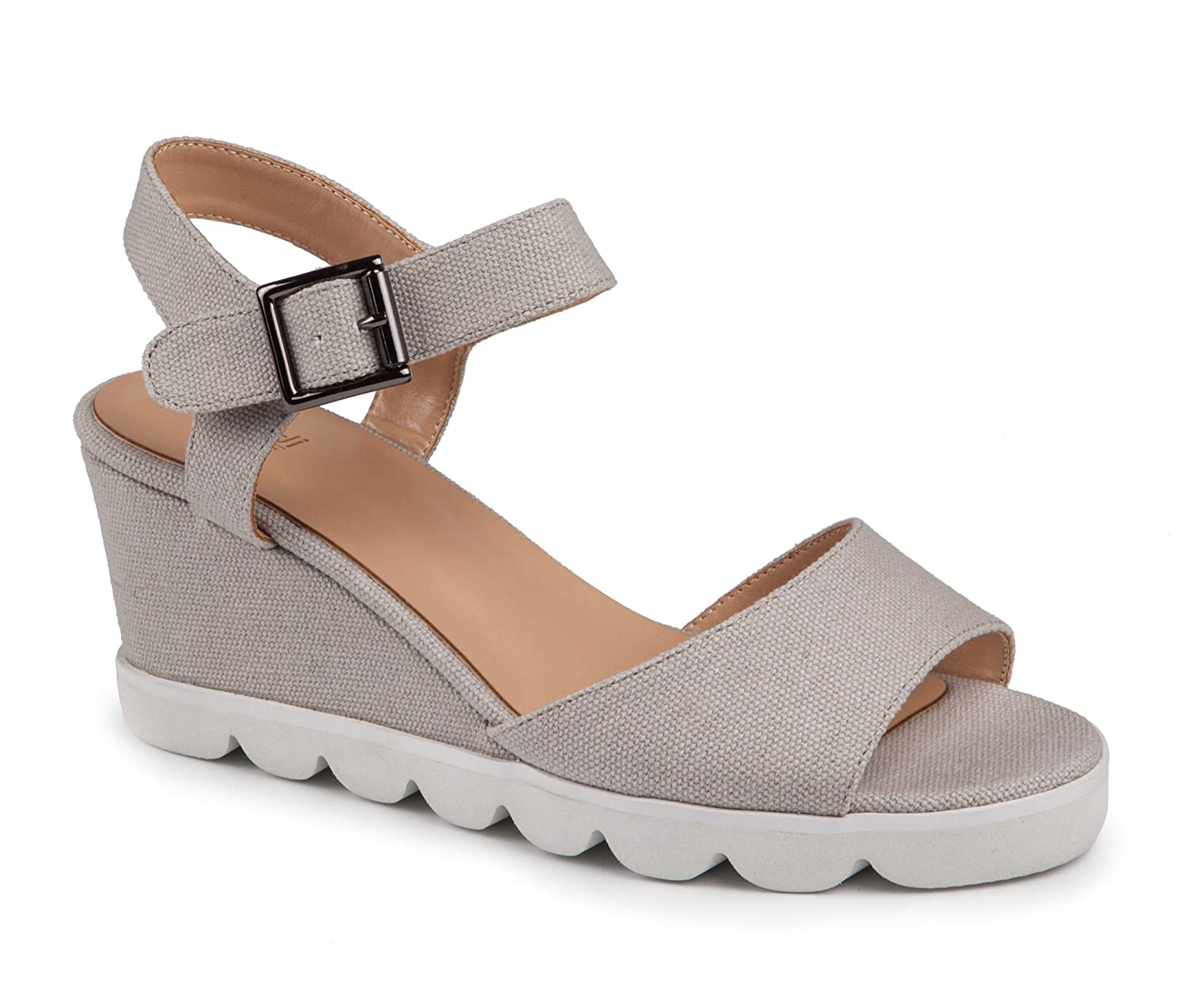 US 5 // EU 35 Baldi Womens Ragusa Grey Textile Slingback Ankle Strap High Wedge Sneakers Sporty Rubber Platform Open Toe Sandals with Buckle