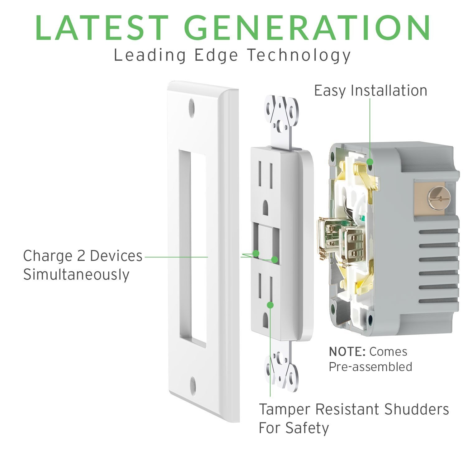 Sunco Lighting 4 Pack Ul Listed High Speed Usb Port Charger And Typical Wiring Method For Receptacle Termination Using Pigtails Duplex 15 Amp 31a Charging Capability Tamper Resistant Outlet Wall Plate