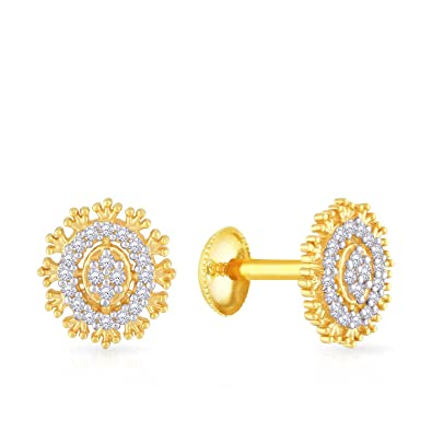 3b3f4f329 Buy Malabar Gold and Diamonds 22KT Yellow Gold Stud Earrings for Women  Online at Low Prices in India | Amazon Jewellery Store - Amazon.in