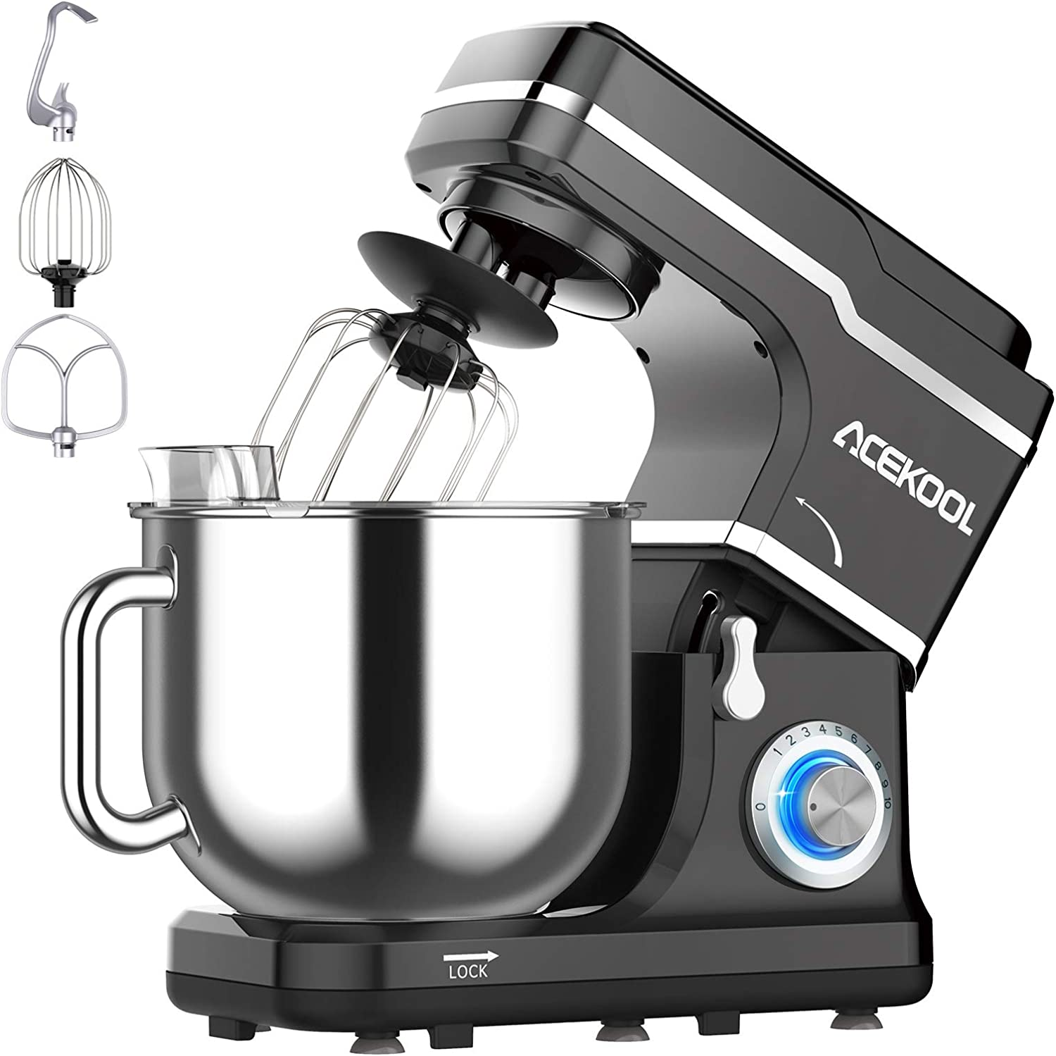 Stand Mixer, 10-Speed 7.5-QT Electric Mixer Kitchen Dough Mixer Food Mixer for Baking&Cake, with Stainless Steel Bowl, Whisk, Dough Hook, Beater, Splash Guard (660W)BLACK