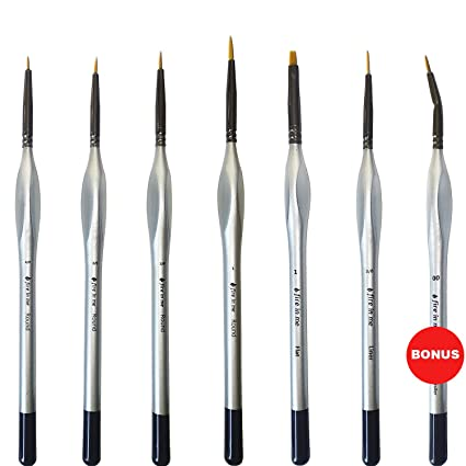 Miniature Paint Brush Set 6 Pcs 1 Free Best Find Detail Paint Brushes Model Paint Brush Set Small Tiny Oil Watercolor Acrylic Brushes Hobby Art