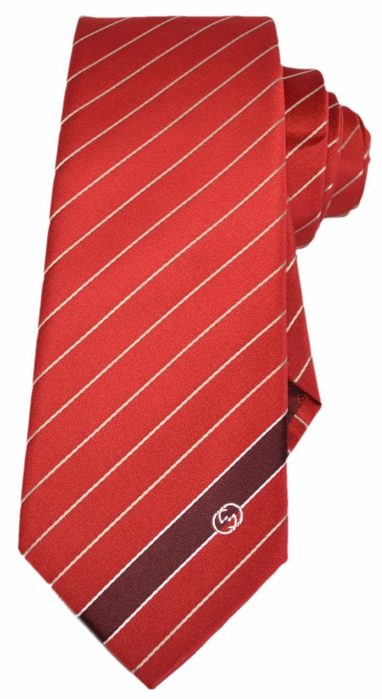 Gucci Men's Flame Red Woven Silk Interlocking GG Striped Neck Tie