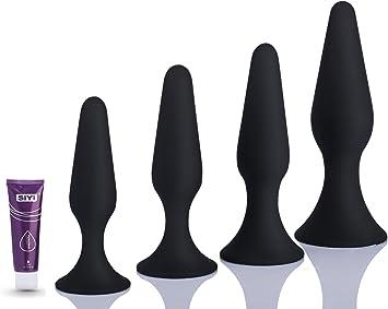Plugs Anales Kit de Silicona Hotfirer Juguetes anales Masturbador Juguetes eróticos Para Mujeres y Hombres Sucker Anal Beads Sexo Silicona Enchufe Anal Kit, Suave y Cómodo, Agua Lubricantes 4 Piezas (Negro): Amazon.es: