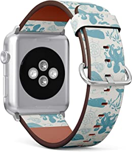 Compatible with Apple Watch Series 5, 4, 3, 2, 1 (Big Version 42/44 mm) Leather Wristband Bracelet Replacement Accessory Band + Adapters - Ocean Art Nautical