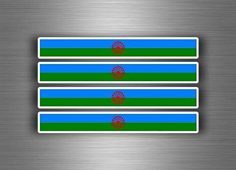 Akachafactory 4 X Selbstklebend Sticker Auto Moto Stripes Flagge Tuning Roma Zigeuner Romani Auto