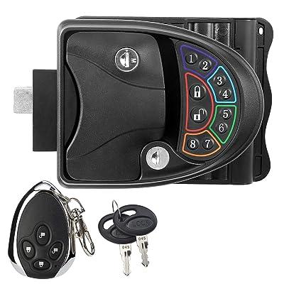 RUPSE Zinc Alloy RV Keyless Entry Door Lock Latch Handle Knob Deadbolt for Trailer Caravan Camper with Keypad & Fob 20m Wireless Remote Control: Automotive