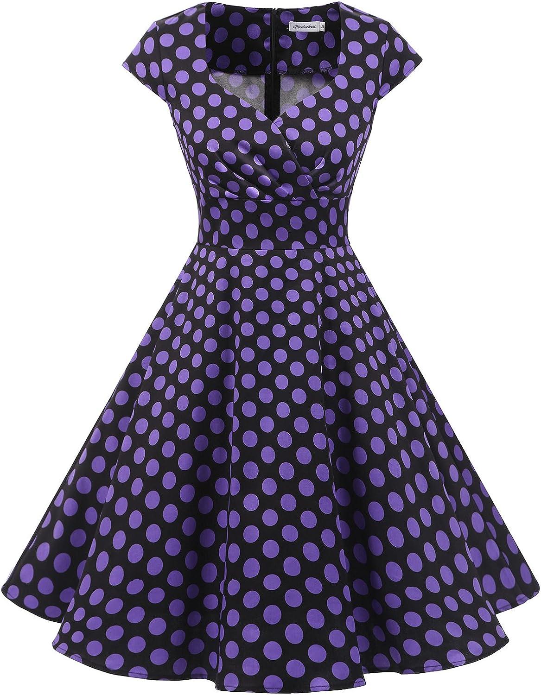 TALLA XS. Bbonlinedress Vestido Corto Mujer Retro Años 50 Vintage Escote En Pico Black Purple Bdot XS