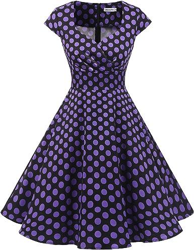 TALLA S. Bbonlinedress Vestido Corto Mujer Retro Años 50 Vintage Escote Black Purple Bdot S