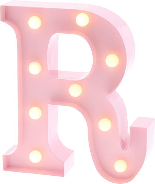 """Barnyard Designs Metal Marquee Letter R Light Up Wall Initial Nursery Letter, Home and Event Decoration 9"""" (Baby Pink)"""
