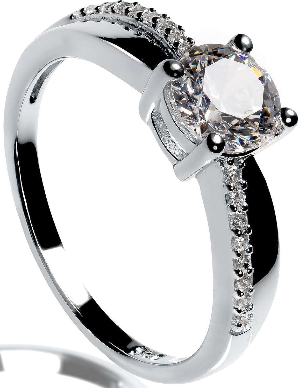 Lars Benz LUXUS Damen-Ring Verlobungsring Silber 925 Swarovski ...