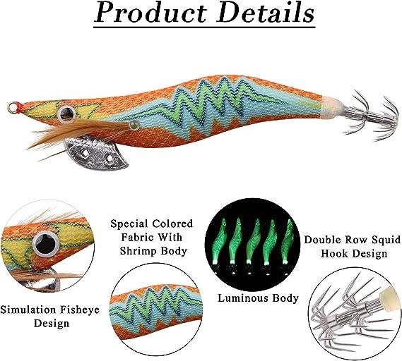 Details about  /4x Sea Bass Trout Fishing Lure Lead Bait Squid Jig Inchiku Luminous Sink Octopus