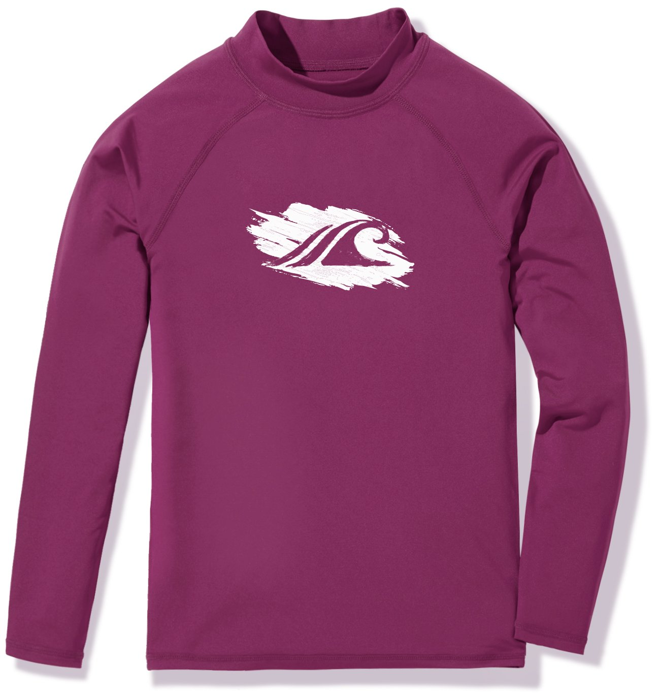 TSLA Girls UPF 50+ Long Sleeve Rashguard Youth Surf Kids Swim top, Girl Long Sleeve(gsr20) - Plum, X-Small (8). by TSLA