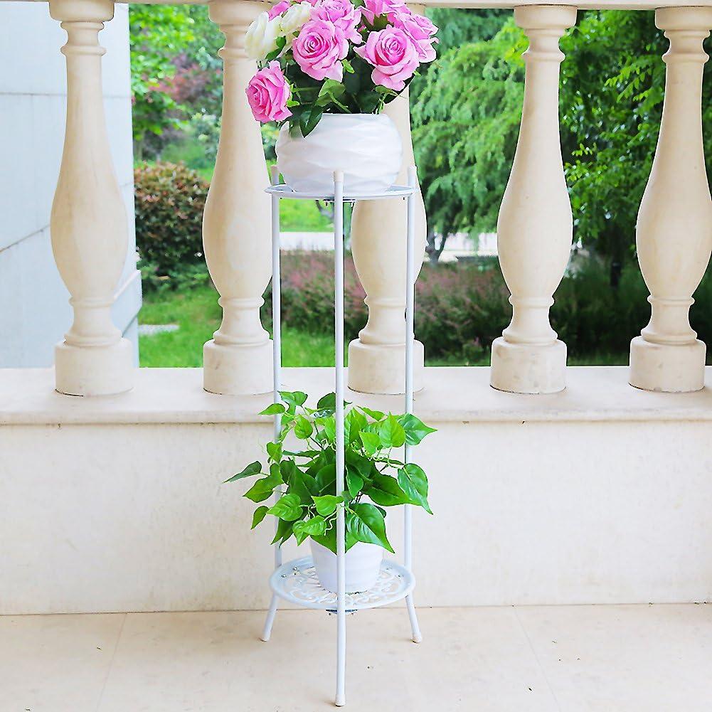 Soporte de la planta Maceta de macetero,Hierro forjado Metálico 100% Diseño de la bandeja Libre estante de flor permanentes Multicapa Pérgola El balcón Piso Sala de estar Interior Aire libre-G H:80cm(31inch): Amazon.es: