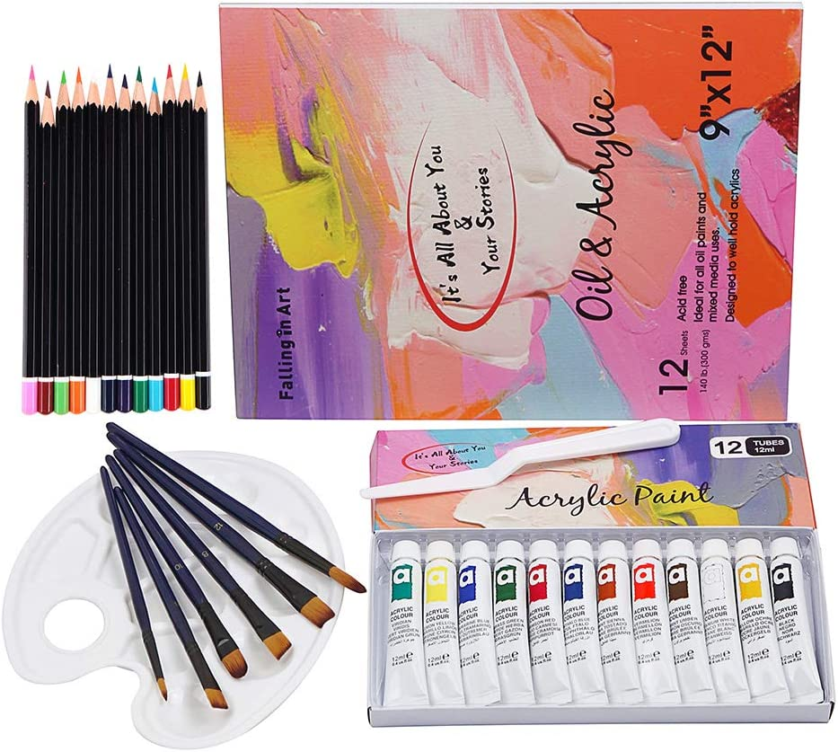 Falling in Art 33 Piece Acrylic Watercolor Painting Set of 12 Colors with Paper Pad, Brushes, Palette and More
