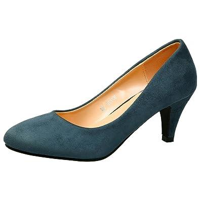 638aa4b92ba7 ByPublicDemand Leona Womens Mid Heel Slip On Court Shoe Blue Faux Suede 3  UK 36