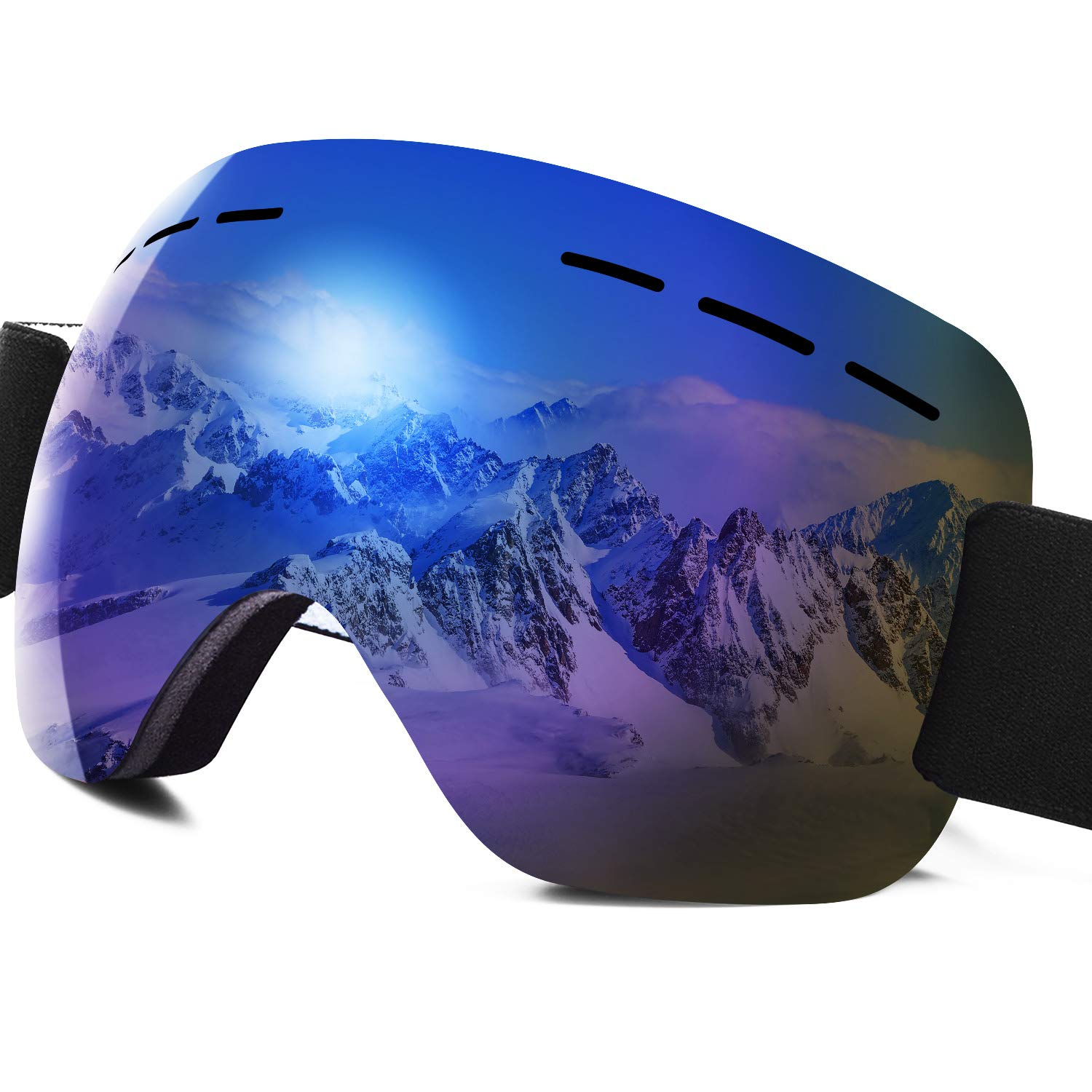 PHYLES Ski Goggles PRO - Frameless Snow Goggles, Dual Lens with Anti Fog & 100% UV400 Protection Snow Goggles for Men & Women (Large)