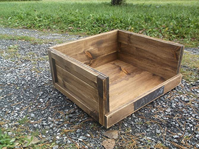 Rustic Wooden Dog Bed For Large Breeds   Distressed Pet Furniture