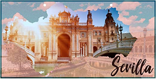 Oedim Matricula Decorativa 30,00 cm x 15,00 cm Sevilla | Decoración Pared | Aluminio 3 mm Resistente: Amazon.es: Hogar
