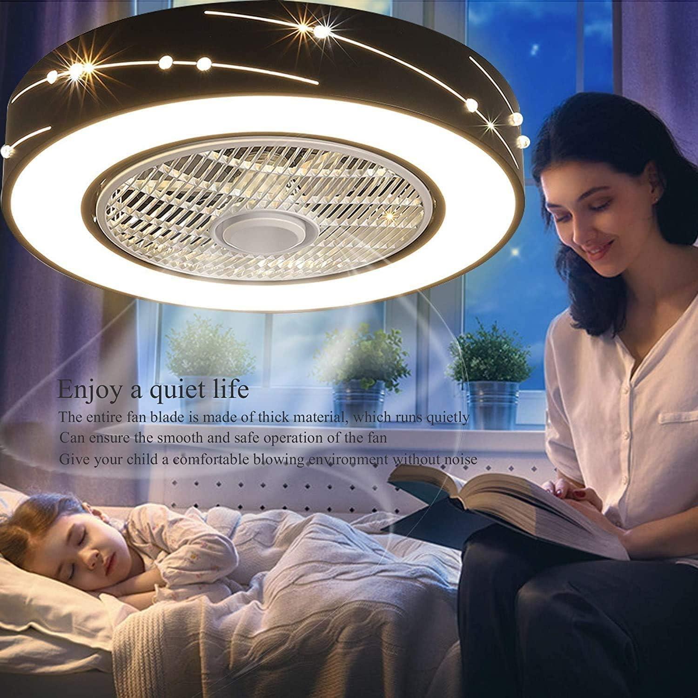 LED Ventilateur Plafonnier Moderne Plafond Fan Avec T/él/écommande Silencieux Ventilateur Lumi/ère Chambre Lampe Salon Maternelle P/épini/ère Timing /Éclairage Pendentif Lumi/ère Ventilateur Lampe,A