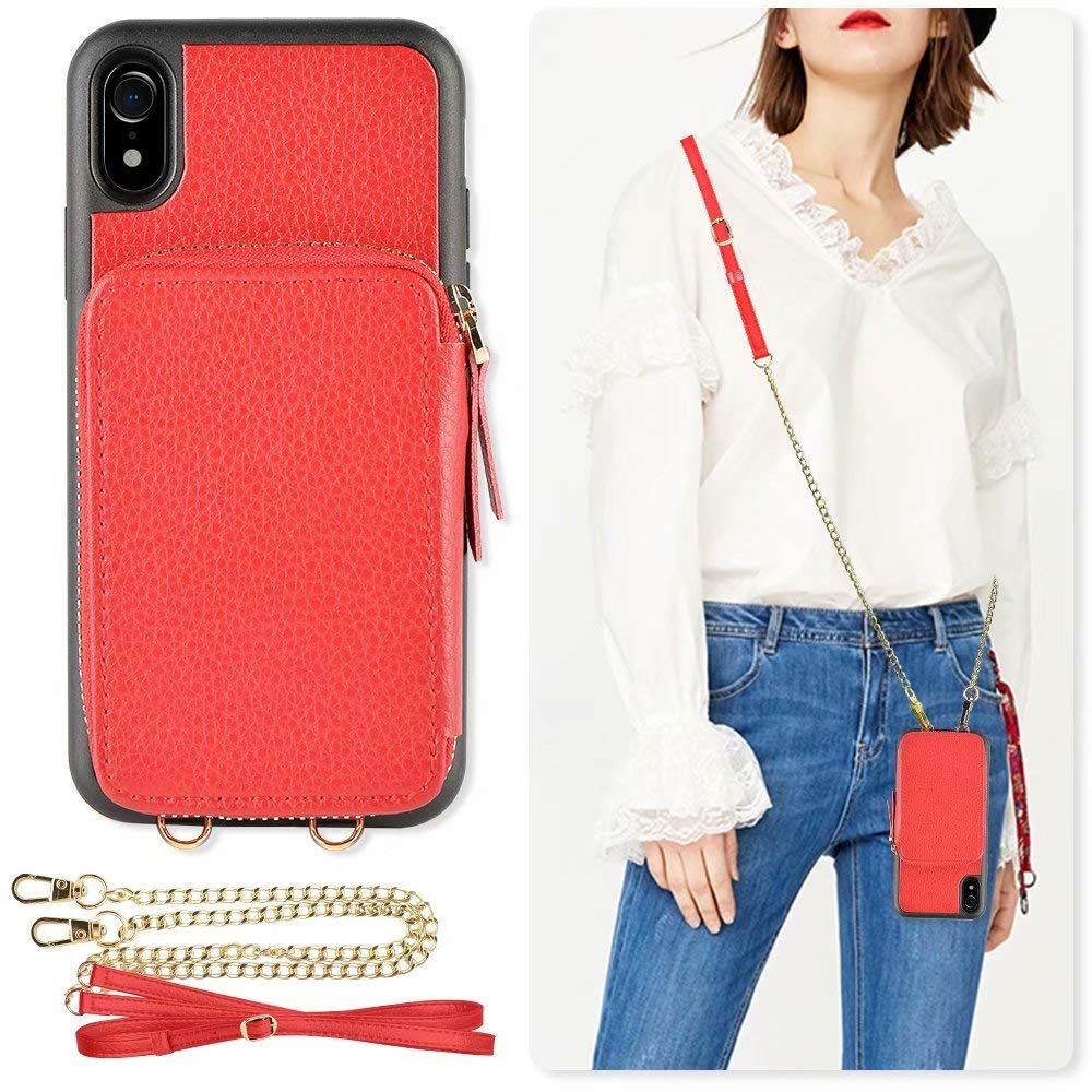 iPhone XR Leather Case, ZVE iPhone XR Zipper Wallet Case with Credit Card Holder Slot Crossbody Chain Handbag Purse Shockproof Protective Case Cover for Apple iPhone XR, 6.1 inch - Red by ZVE