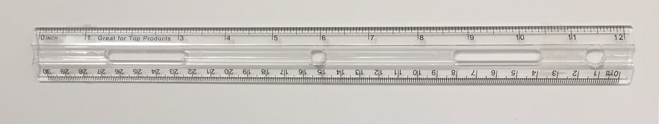 GTP 12'' Crystal Clear, Plastic Rulers, inches, Metric with Hole for Binder-Bulk-Each ruler comes with individual plastic bag (1 pack 36)