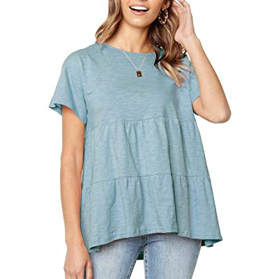Womens Short Sleeve Casual Loose Blouse High Low Hem Ruffle Peplum T Shirt Tops at Women's Clothing store