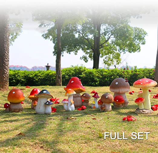 MASII Adornos De Jardín Simulación Planta Seta Resina Escultura ...