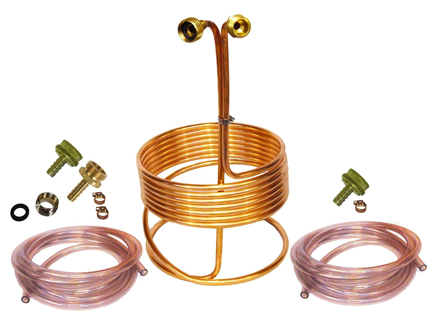 HomeBrewStuff 25' Copper Immersion Wort Chiller - Deluxe Package with 2x 12' Hoses, Fittings, Faucet Adapter