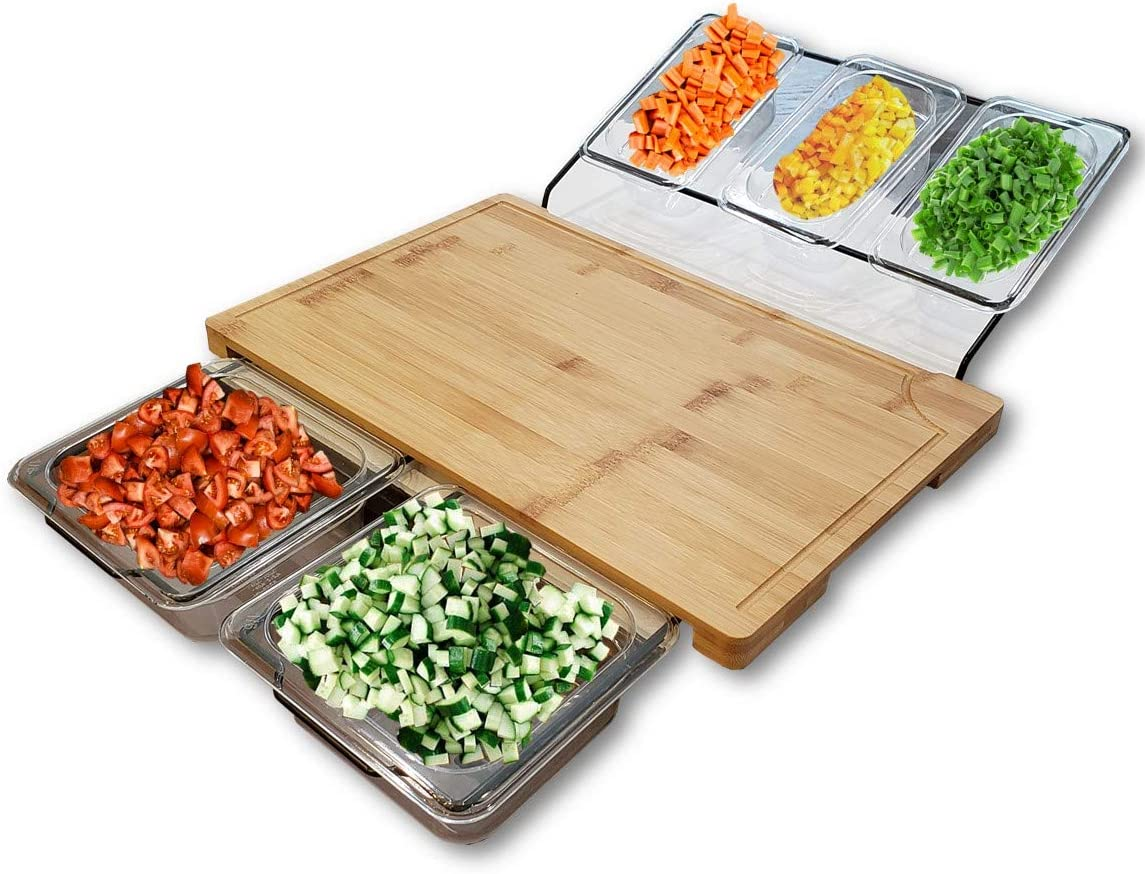 Bamboo Cutting Boards for Kitchen, Includes 5 Clear Plastic Food Prep Containers with Lids Set | Heavy Duty Chopping Board, Food Prep Station, or Serving Board