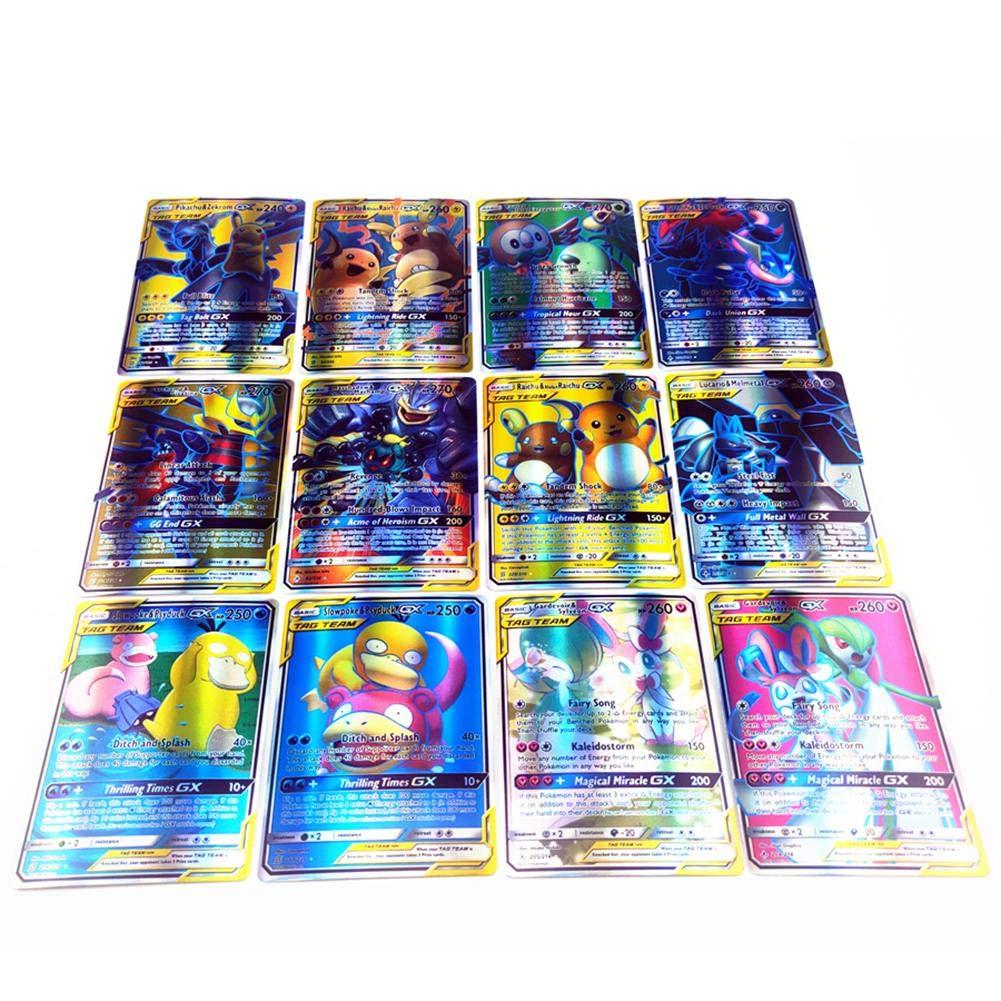 Poke Game Cards Entwicklungskarten F/ür Visuelle Wahrnehmungsf/ähigkeiten F/ür Kinder 80 Tag Team + 20 Mega + 20gx humflour 120 St/ück Pokemon Karten